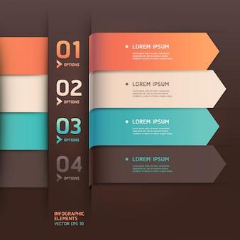 Opções de número de estilo origami moderno seta. layout de fluxo de trabalho, diagrama, opções de passo, web design, infográficos.