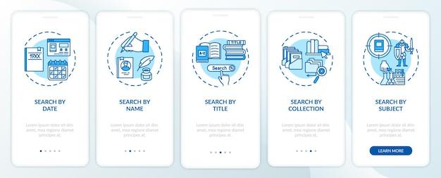 Opções de pesquisa de biblioteca online integrando a tela da página do aplicativo móvel com conceitos