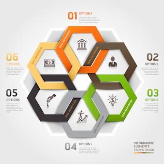 Opções do estilo do origâmi do círculo da gestão de negócio infographic.