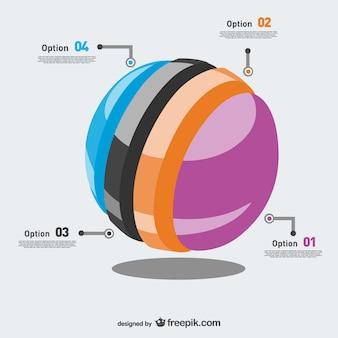 Opções esfera camadas infográfico