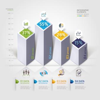 Opções modernas de infografia 3d.
