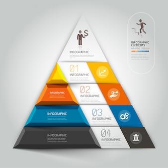 Opções modernas do steb do negócio do diagrama da escadaria 3d.