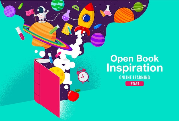 Open book inspiration, online learning, study from home, back to school, flat design