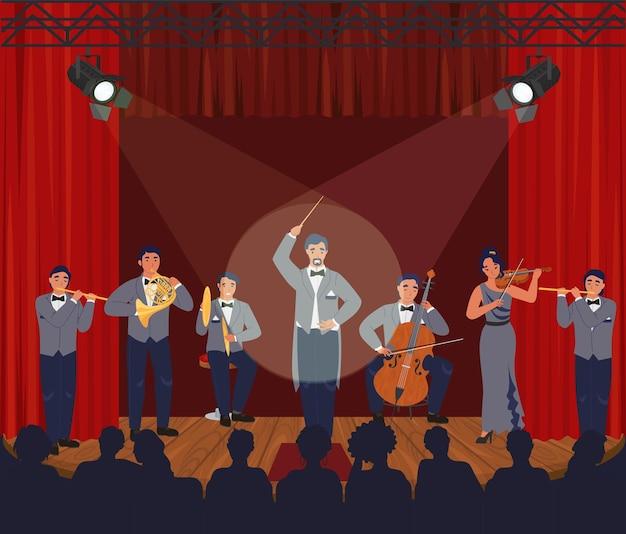 Ópera teatro cena orquestra sinfônica executando no palco ilustração vetorial música clássica conce ...
