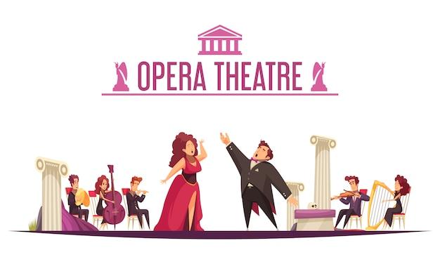 Opera teatro premier anúncio cartoon plana com 2 cantores ária performance e músicos no palco