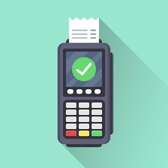 Operação de pagamento bem-sucedida. terminal pos impresso recibo com marca verde e sombra longa. ilustração vetorial