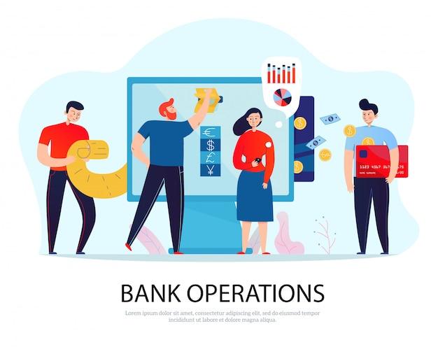 Operações bancárias online composição plana com pessoas pagando contas e gerenciando suas finanças