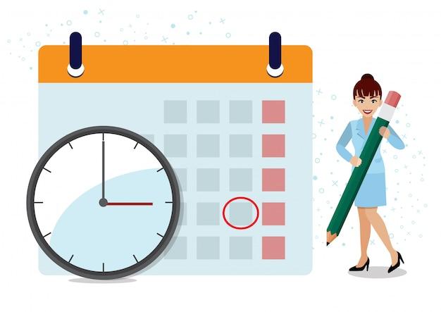 Operações de negócios, planejamento e agendamento com a empresária escrevendo compromisso no calendário com lápis e tempo com relógio artoon