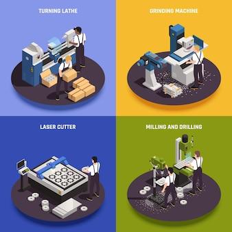 Operações de usinagem de metais 4 composições isométricas com tornos mecânicos, cortador a laser, fresadoras, furadeiras