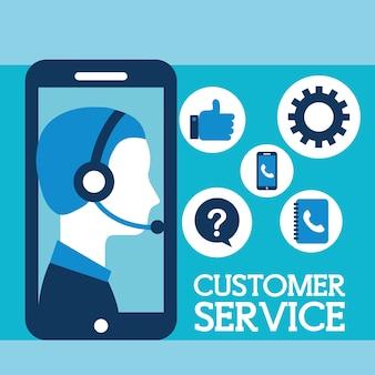 Operador com fone de ouvido telefone atendimento ao cliente