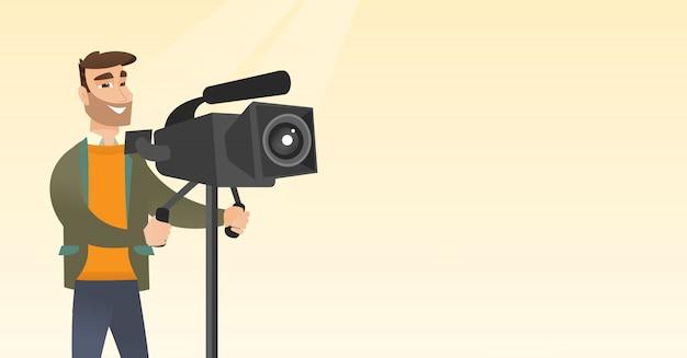 Operador de câmara com uma câmera de filme no tripé.