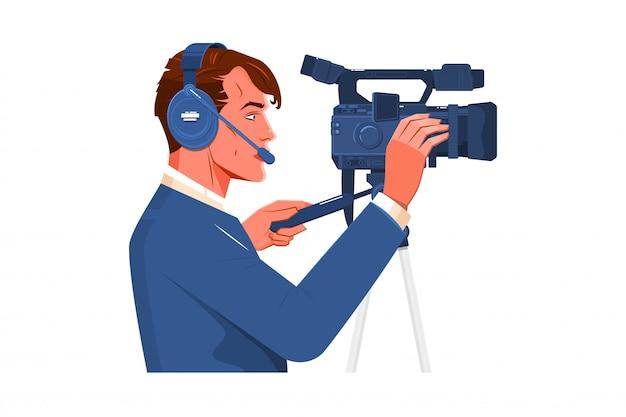 Operador de câmera de vídeo filmado