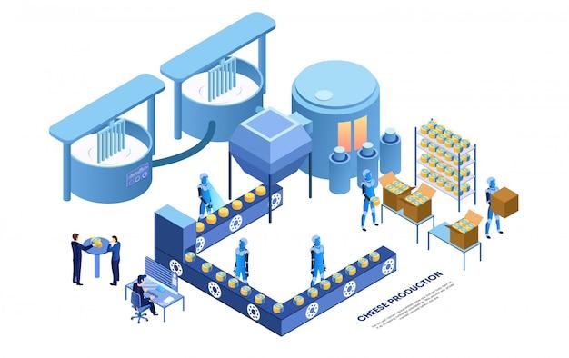 Operador de fábrica e robôs inteligentes produzindo queijo