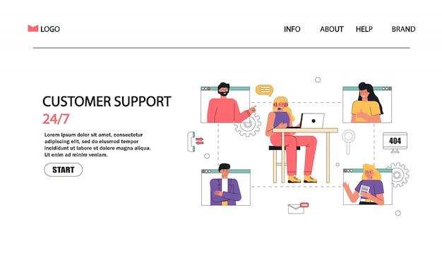 Operador de linha direta de mulher com fones de ouvido e microfone com laptop, ilustração do conceito para bate-papo, call center, suporte, feedback, assistência.