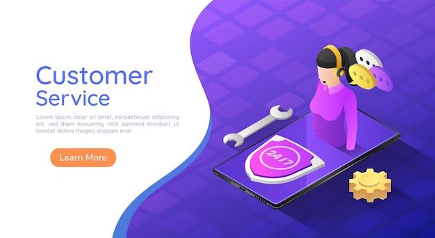 Operador de serviço ao cliente feminino de banner 3d isométrico da web no smartphone. atendimento ao cliente e conceito de assistência de suporte