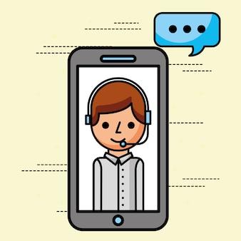 Operador de smartphone falando serviço ao cliente de suporte