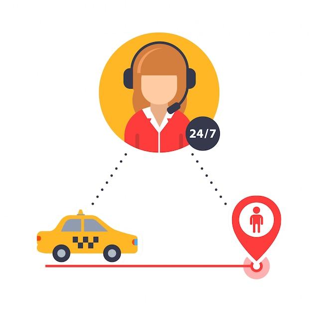 Operador de táxi ajuda a encontrar um motorista de táxi cliente.
