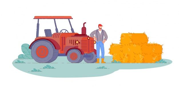 Operador de trator. fazenda campo trator operador agricultor homem fazendo fardos de colheita de feno. agricultura rural, transporte de veículos para máquinas agrícolas