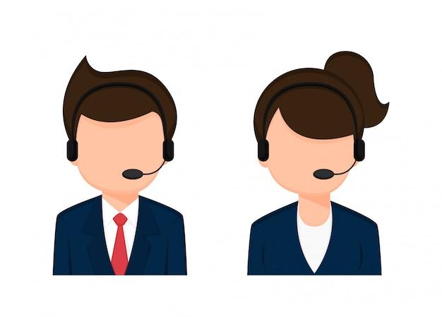 Operador empregado masculino e feminino personagens de desenhos animados.
