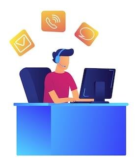Operador masculino com fone de ouvido na ilustração em vetor centro de suporte ao cliente.