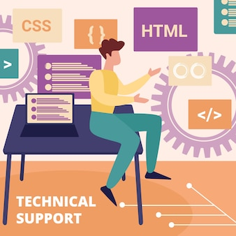 Operador profissional do serviço de suporte técnico