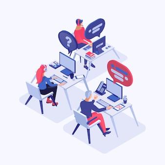 Operadores de atendimento ao cliente com clientes de consultoria de fone de ouvido, gerentes personagens 3d