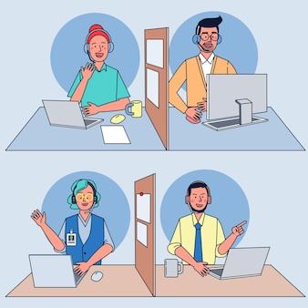 Operadores de call center no trabalho