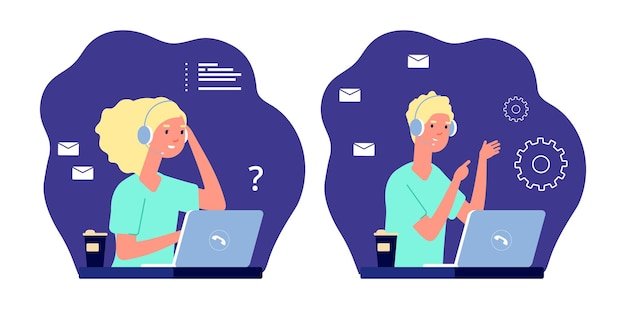 Operadores de call center. serviço de suporte, garotas trabalhando remotamente