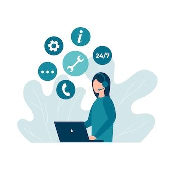 Operadores de linha direta de atendimento ao cliente aconselham clientes 24 7 centro de suporte técnico online global