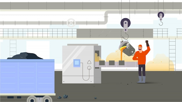 Operário dentro da produção. conceito de situação industrial. ilustração vetorial