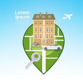 Opinião da casa da construção da cidade com conceito do curso do pin dos gps do carro