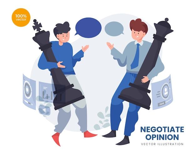Opinião de negociação com duas pessoas trazem peito