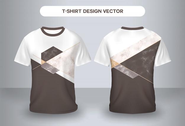 Opinião dianteira e traseira do tshirt de mármore da natureza.