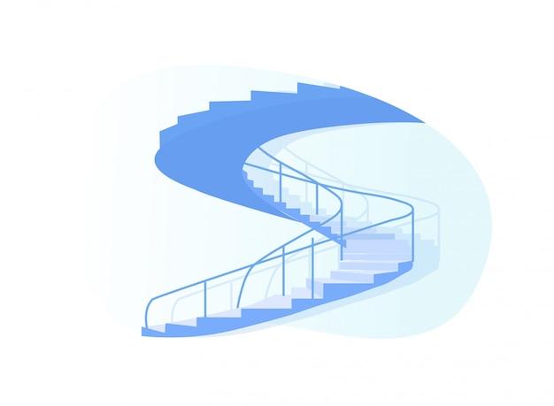 Opinião lateral da escadaria espiral isolada no branco.