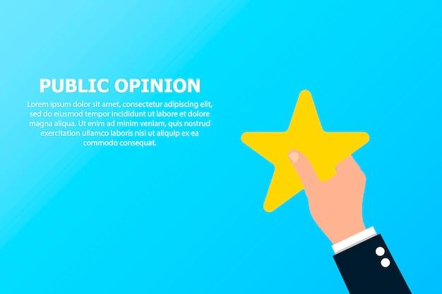 Opinião pública com estrela em uma mão.