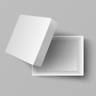 Opinião superior 3d da caixa de presente aberta branca vazia do cartão. caixa de papelão para presente de presente