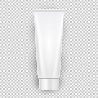 Opinião superior do molde de creme vazio branco da garrafa com a sombra isolada no fundo transparente.