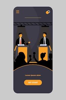 Oponentes políticos discutindo em debates no aplicativo móvel