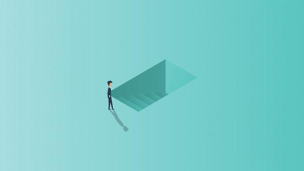Oportunidade de carreira começando a sair da ilustração do conceito de negócio-chave.