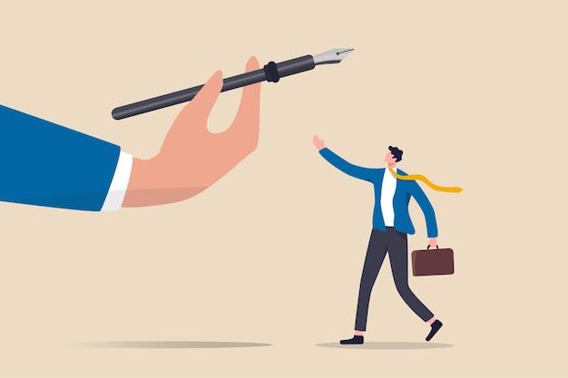 Oportunidade de carreira, promoção de emprego, dando poder ou força ao funcionário para tomar decisões Vetor Premium