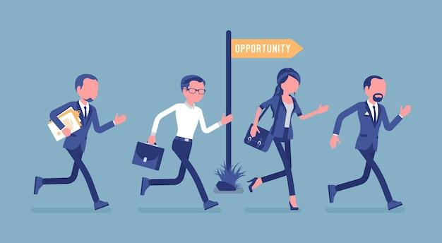 Oportunidade, empresários concorrem a empregos ou oportunidades de promoção. gerentes homens e mulheres têm possibilidade, funcionários ativos veem projetos promissores. ilustração vetorial, personagens sem rosto