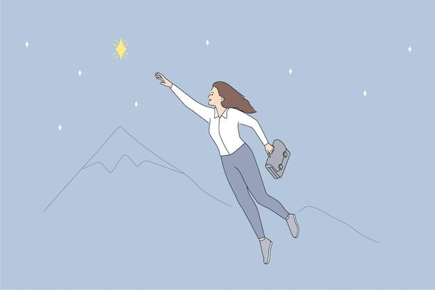 Oportunidades e conceito de liderança empresarial. jovem sorridente personagem de desenho animado de mulher de negócios voando para chegar a estrela voando no ar ilustração vetorial