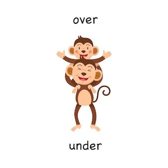 Oposto acima e abaixo da ilustração vetorial