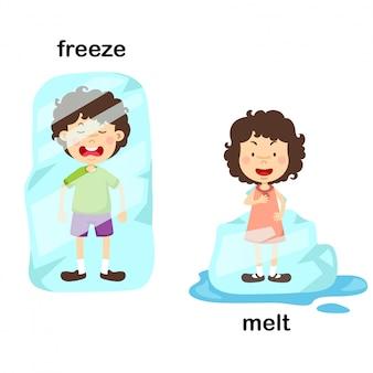Oposto ao congelamento e derreter ilustração vetorial