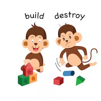 Oposto construir e destruir ilustração
