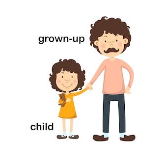 Oposto crescido e ilustração vetorial de criança