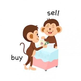 Oposto vender e comprar ilustração