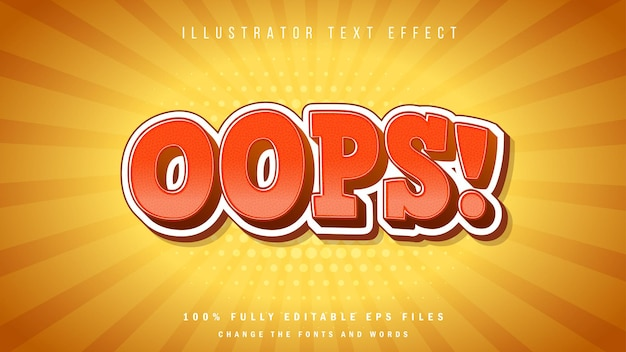 Ops! design tipográfico de efeito de texto 3d laranja