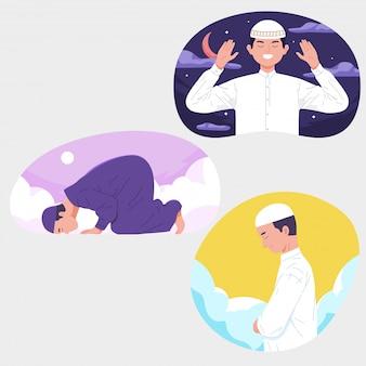Oração de homens muçulmanos com céu noite dia ramadã