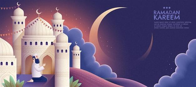 Oração de ramadan kareem e mesquita à noite em banner de estilo desenhado à mão